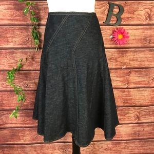 DKNY Skirt 12 Denim Jean Stretch Swing Knee Modest